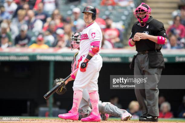 Cleveland Indians Outfield Daniel Robertson looks down to the third base coach for a sign during the second inning of the Major League Baseball game...