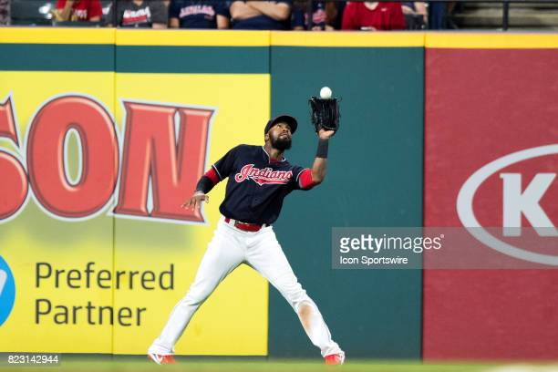 Cleveland Indians outfielder Austin Jackson makes a catch for an out during the ninth inning of the Major League Baseball game between the Los...