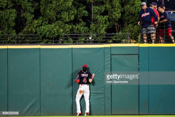 Cleveland Indians outfielder Bradley Zimmer and indians fans look on as the ball hit by Boston Red Sox center fielder Jackie Bradley Jr clears the...