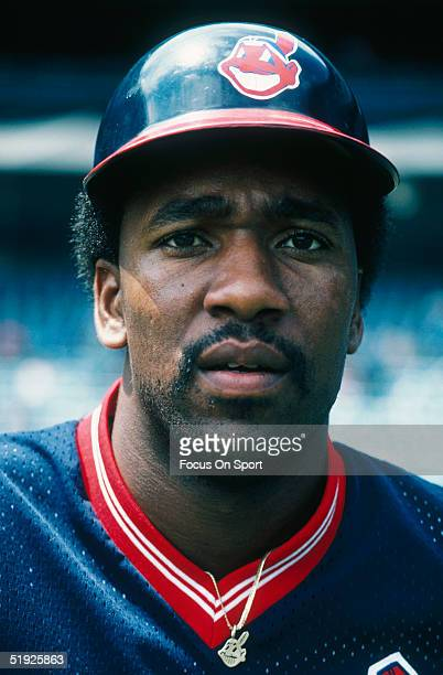 Cleveland Indians' outfielder Joe Carter poses for the camera during a game against the New York Yankees at Yankee Stadium in 1986 in Bronx New York