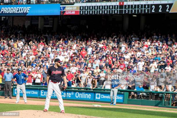 Cleveland Indians pitcher Cody Allen looks in for a sign during the ninth inning of the Major League Baseball game between the Kansas City Royals and...