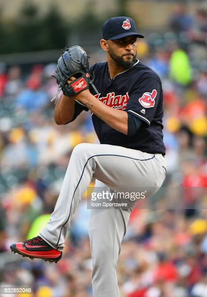 Cleveland Indians Pitcher Danny Salazar delivers a pitch during a MLB game between the Minnesota Twins and Cleveland Indians on August 15 2017 at...