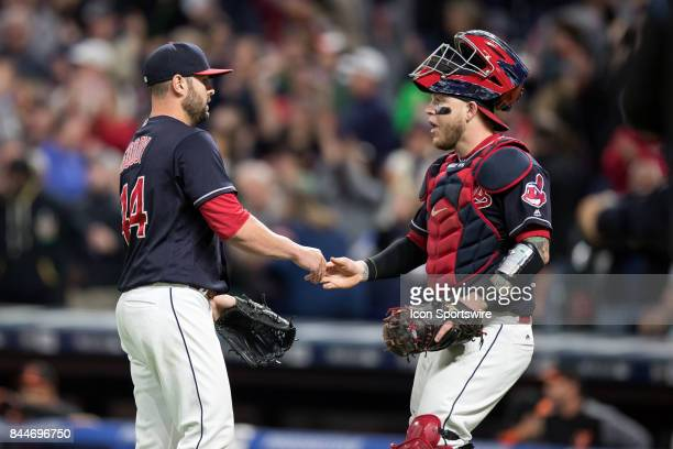 Cleveland Indians pitcher Nick Goody and Cleveland Indians catcher Roberto Perez celebrate following the Major League Baseball game between the...