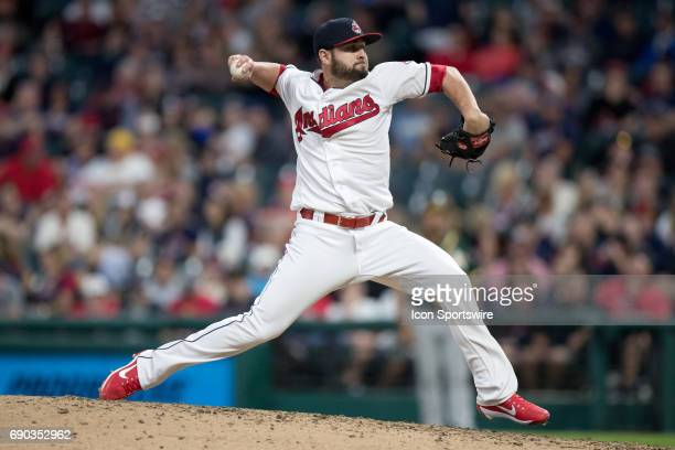 Cleveland Indians Pitcher Nick Goody delivers a pitch to the plate during the ninth inning of the Major League Baseball game between the Oakland...