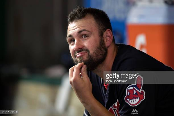 Cleveland Indians pitcher Nick Goody reacts after 2 runners he left on base scored during the sixth inning of the the Major League Baseball game...