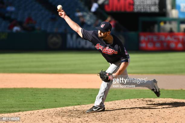 Cleveland Indians Pitcher Nick Goody throws a pitch during an MLB game between the Cleveland Indians and the Los Angeles Angels of Anaheim on...