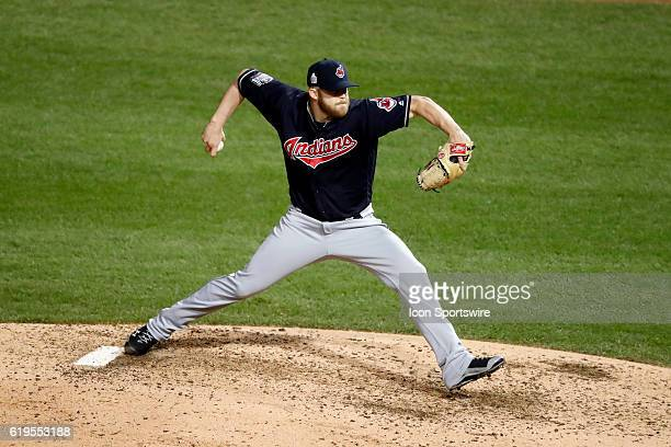 Cleveland Indians relief pitcher Cody Allen delivers a pitch against the Chicago Cubs during the 7th inning of the 2016 World Series Game 5 between...