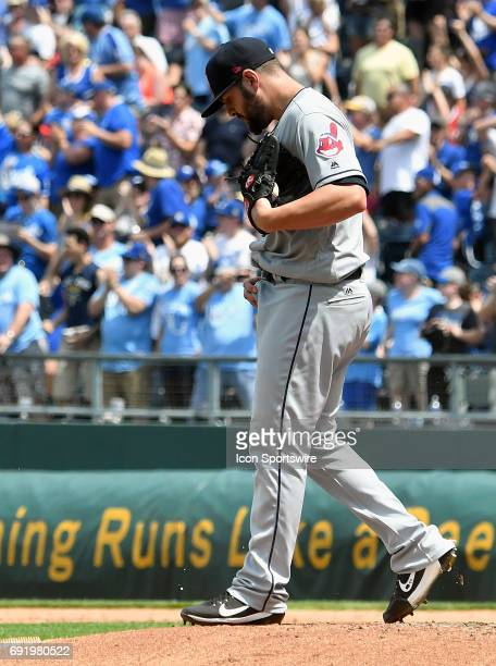 Cleveland Indians relief pitcher Nick Goody reacts after a home run by Kansas City Royals center fielder Lorenzo Cain during a MLB game between the...