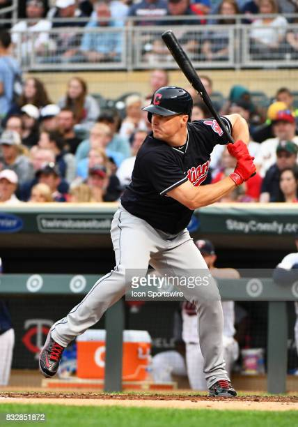 Cleveland Indians Right field Jay Bruce at the plate during a MLB game between the Minnesota Twins and Cleveland Indians on August 15 2017 at Target...