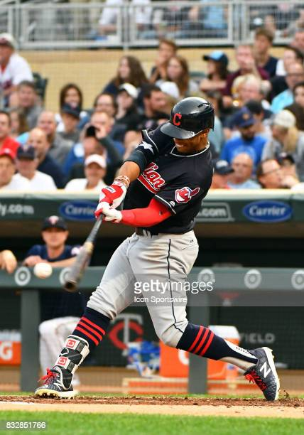 Cleveland Indians Shortstop Francisco Lindor makes contact during a MLB game between the Minnesota Twins and Cleveland Indians on August 15 2017 at...