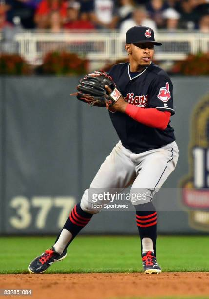 Cleveland Indians Shortstop Francisco Lindor throws to 1st during a MLB game between the Minnesota Twins and Cleveland Indians on August 15 2017 at...