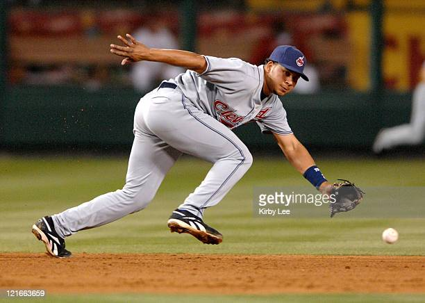 Cleveland Indians shortstop Jhonny Peralta fields a ground ball during 51 victory over the Los Angeles Angels of Anaheim in Major League Baseball...