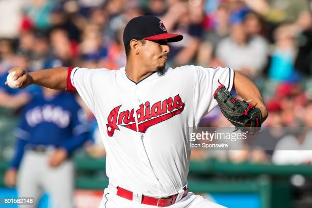 Cleveland Indians starting pitcher Carlos Carrasco delivers a pitch to the plate during the first inning of the Major League Baseball game between...