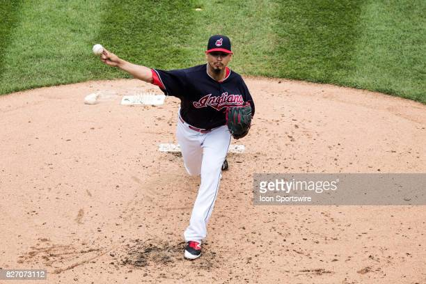 Cleveland Indians starting pitcher Carlos Carrasco delivers a pitch to the plate during the second inning of the Major League Baseball game between...