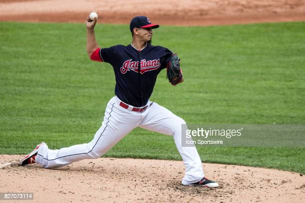 Cleveland Indians starting pitcher Carlos Carrasco delivers a pitch to the plate during the third inning of the Major League Baseball game between...