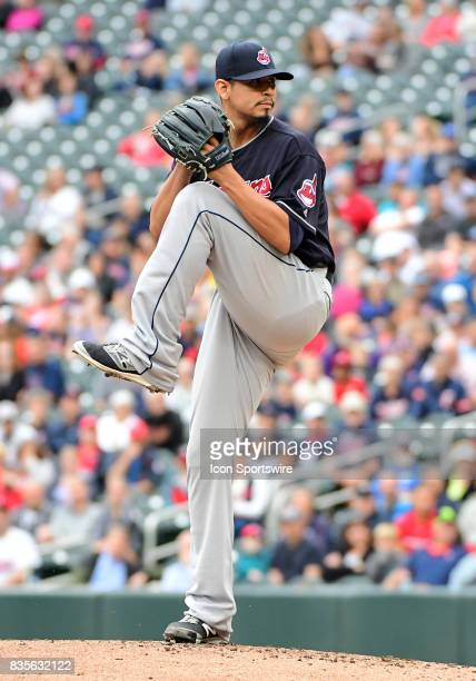Cleveland Indians Starting pitcher Carlos Carrasco delivers a pitch during game 1 of a MLB splitdoubleheader between the Minnesota Twins and...