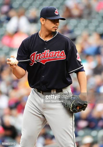 Cleveland Indians Starting pitcher Carlos Carrasco takes the mound during game 1 of a MLB splitdoubleheader between the Minnesota Twins and Cleveland...