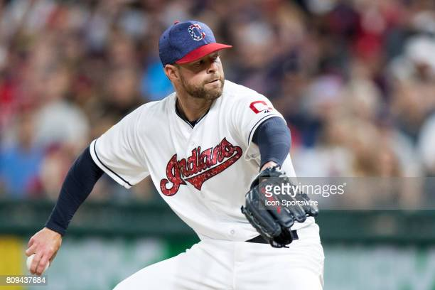 Cleveland Indians starting pitcher Corey Kluber delivers a pitch to the plate to record his 10th strikeout of the game during the eighth inning of...