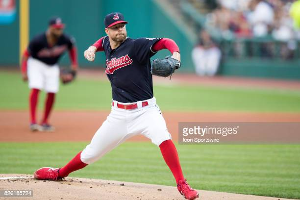 Cleveland Indians starting pitcher Corey Kluber delivers a pitch to the plate during the first inning of the Major League Baseball game between the...