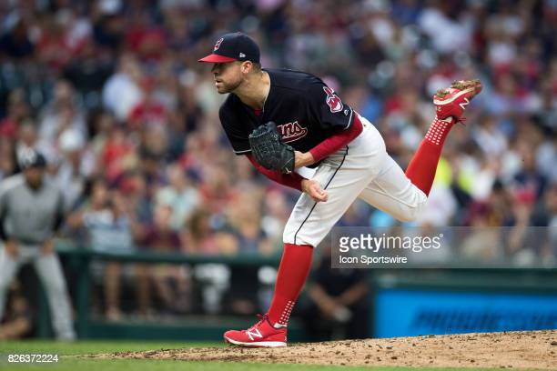 Cleveland Indians starting pitcher Corey Kluber delivers a pitch to the plate during the fifth inning of the Major League Baseball game between the...
