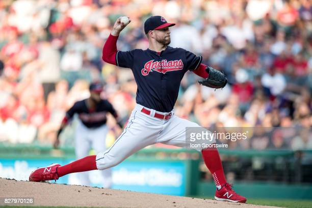 Cleveland Indians starting pitcher Corey Kluber delivers a pitch to the plate during the first inning of the Major League Baseball Interleague game...