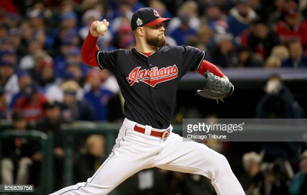 Cleveland Indians starting pitcher Corey Kluber delivers against the Chicago Cubs during Game 1 of the World Series on October 25 at Progressive...