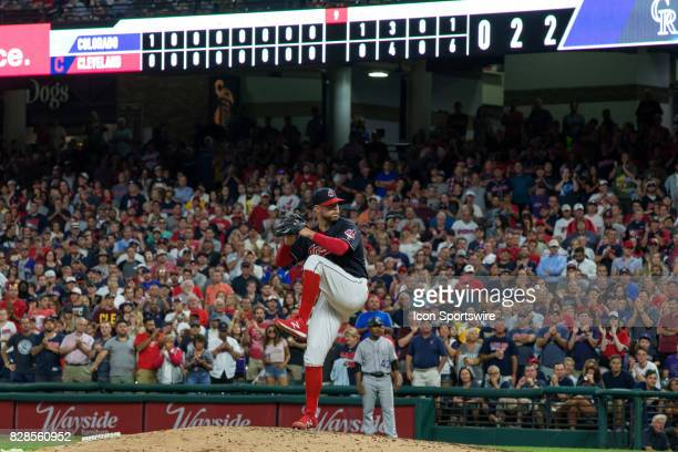 Cleveland Indians starting pitcher Corey Kluber delivers his final pitch of the game for his eleventh strikeout during the ninth inning of the Major...