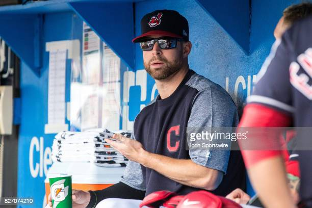Cleveland Indians starting pitcher Corey Kluber in the dugout prior to the Major League Baseball game between the New York Yankees and Cleveland...