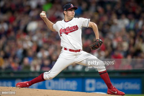 Cleveland Indians starting pitcher Trevor Bauer delivers a pitch to the plate during the first inning of the Major League Baseball game between the...