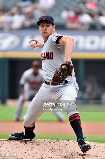 Cleveland Indians starting pitcher Trevor Bauer pitches during the game between the Cleveland Indians and the Chicago White Sox on September 4 2017...
