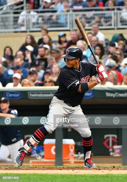 Cleveland Indians Third base Jose Ramirez at the plate during a MLB game between the Minnesota Twins and Cleveland Indians on August 15 2017 at...