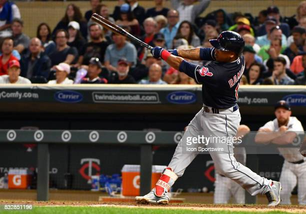 Cleveland Indians Third base Jose Ramirez makes contact during a MLB game between the Minnesota Twins and Cleveland Indians on August 15 2017 at...