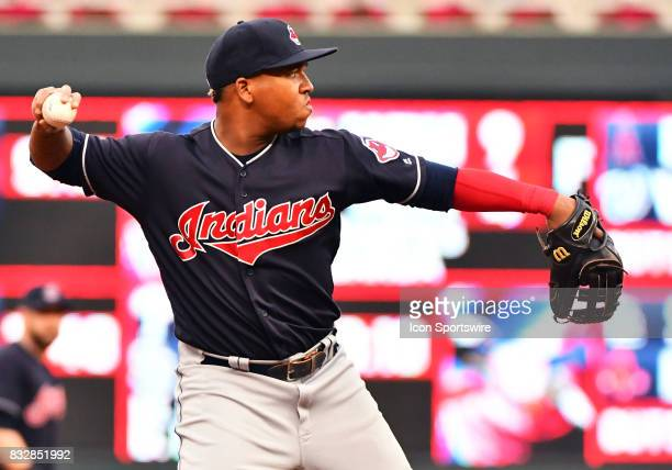 Cleveland Indians Third base Jose Ramirez throws to 1st during a MLB game between the Minnesota Twins and Cleveland Indians on August 15 2017 at...
