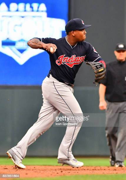 Cleveland Indians Third base Jose Ramirez throws to 1st on the run during a MLB game between the Minnesota Twins and Cleveland Indians on August 15...