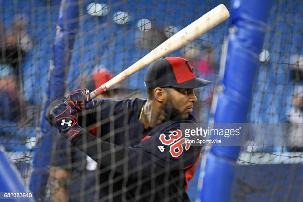 Cleveland Indians Third base Yandy Diaz during batting practice prior to the regular season MLB game between the Cleveland Indians and Toronto Blue...