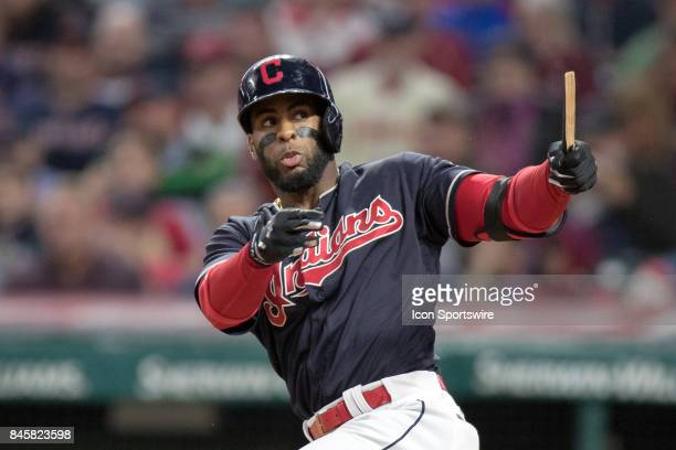 Cleveland Indians third baseman Yandy Diaz breaks his bat as he grounds into a fielders choice to drive in a run during the sixth inning of the Major...