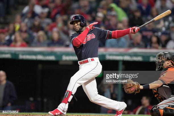 Cleveland Indians third baseman Yandy Diaz doubles to left during the sixth inning of the Major League Baseball game between the Baltimore Orioles...