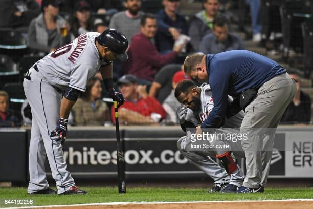 Cleveland Indians third baseman Yandy Diaz gets hit by a pitch during a game between the Cleveland Indians and the Chicago White Sox on September 7...