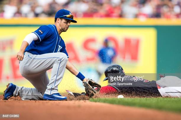 Cleveland Indians third baseman Yandy Diaz is safe at second with a stolen base as Kansas City Royals second baseman Whit Merrifield takes the throw...