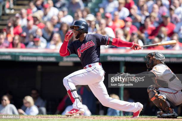 Cleveland Indians third baseman Yandy Diaz singles during the fourth inning of the Major League Baseball game between the Baltimore Orioles and...