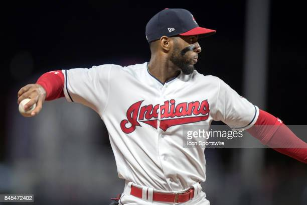 Cleveland Indians third baseman Yandy Diaz throws to first base for an out during the seventh inning of the Major League Baseball game between the...