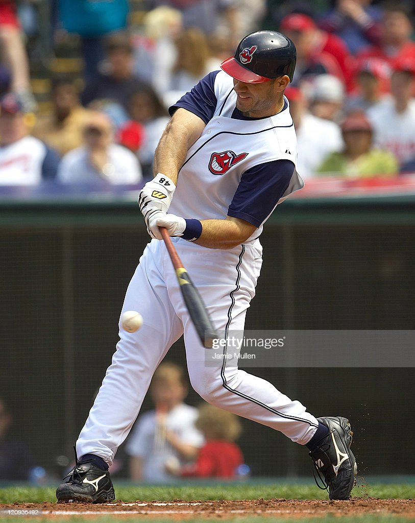 Cleveland Indians' Travis Hafner grounds out during the game against the Minnesota Twins Sunday, April 17, 2005 at Jacobs Field in Cleveland. The Indians beat the Twins 2-1.