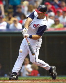 Cleveland Indians' Travis Hafner grounds out during the game against the Minnesota Twins Sunday April 17 2005 at Jacobs Field in Cleveland The...