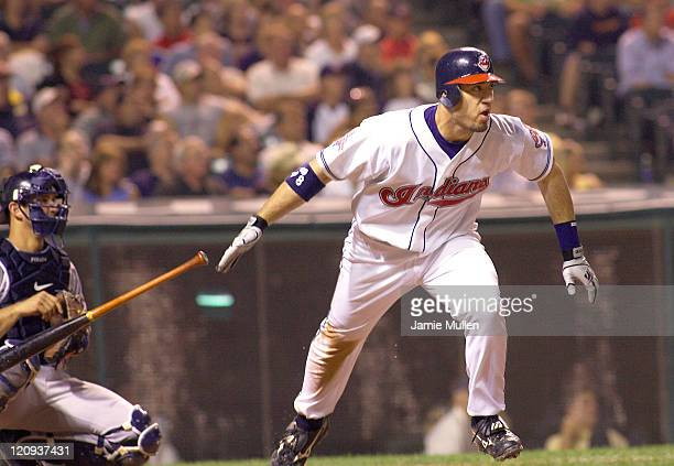 Cleveland Indians' Travis Hafner hits a double in the bottom of the eighth inning during their game against the New York Yankees Monday August 23...