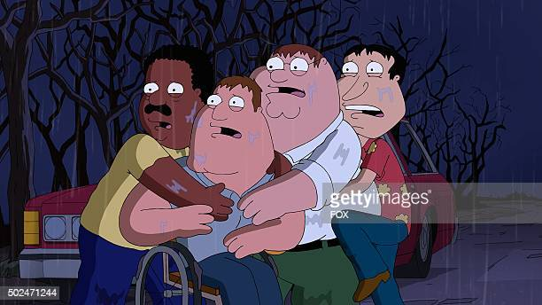 Cleveland Joe Peter and Quagmire in the 'Peternormal Activity' season 13 premiere episode of FAMILY GUY airing Sunday Sept 27 on FOX