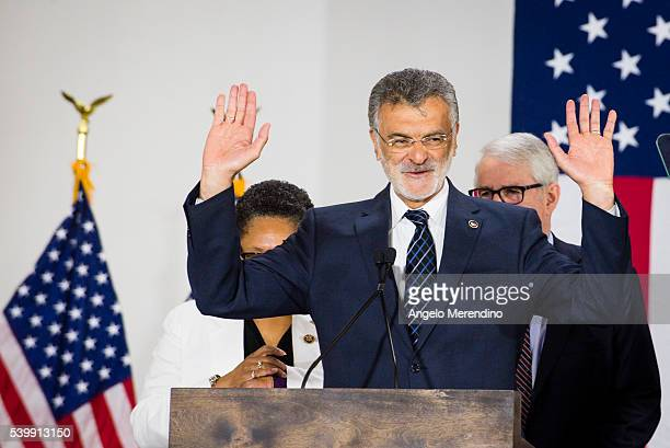Cleveland Mayor Frank Jackson speaks at a campaign rally for Democratic presidential candidate Hillary Clinton on June 13 2016 in Cleveland Ohio In...