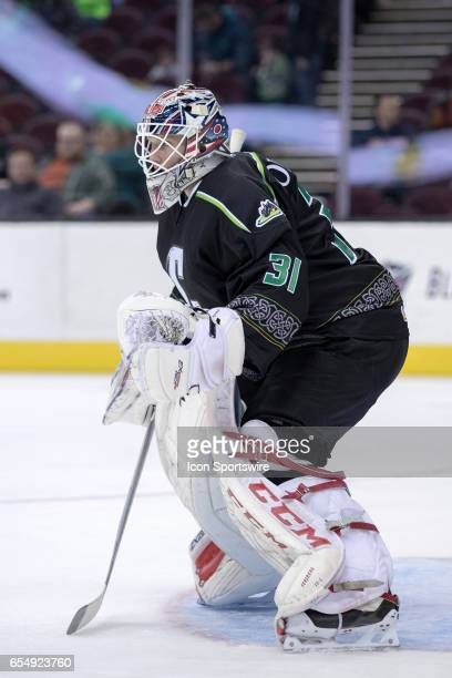 Cleveland Monsters G Anton Forsberg during the first period of the AHL hockey game between the Texas Stars and Cleveland Monsters on March 17 at...