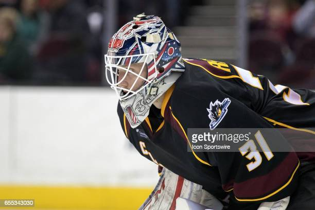 Cleveland Monsters G Anton Forsberg during the first period of the AHL hockey game between the Texas Stars and Cleveland Monsters on March 18 at...