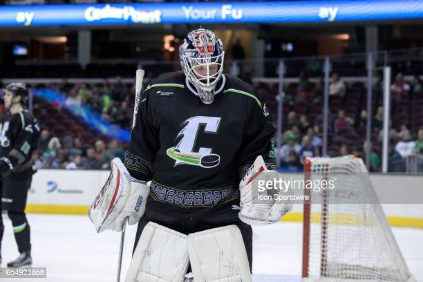 Cleveland Monsters G Anton Forsberg holds the puck after making a save during the first period of the AHL hockey game between the Texas Stars and...