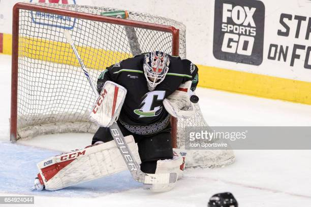 Cleveland Monsters G Anton Forsberg makes a save during the second period of the AHL hockey game between the Texas Stars and Cleveland Monsters on...